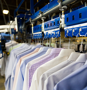 shirts on conveyor